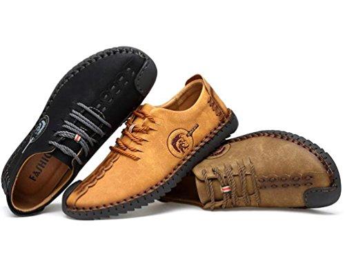Gentleman's Loafers Handgefertigte Bequeme Leder Low Top Lacu-up Soft Soles Anti-Rutsch Easy Match Casual Freizeitschuhe EU Größe 38-44 Black