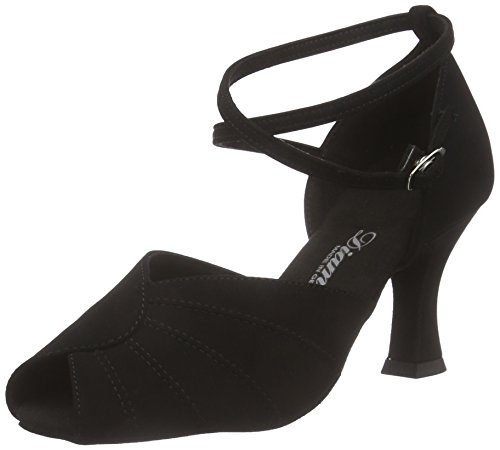 Diamant Diamant Damen Latein Tanzschuhe 027-060-040, Chaussures de Danse de salon femme Noir - Noir