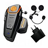 Qaurora BT-S2 1000 M Bluetooth Headset Impermeable, Casco Intercomunicador Interphone Móvil para 2 o 3 Jinetes y 2,5 mm de Audio para Walkie Talkie GPS (1 Pieza)