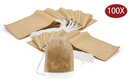 Granny\'s Kitchen 100 Bolsas Vacías de Te Desechables - Bolsitas de Papel Desechables Estériles con Hilo - Filtros para Té y Infusión de Hierbas - Natural