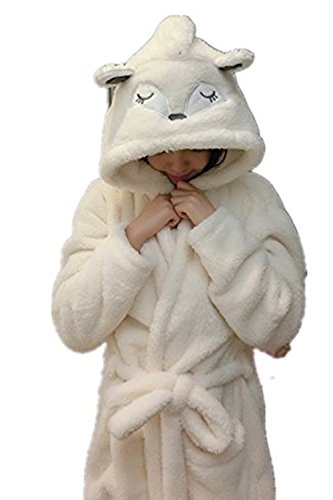 r Einhorn Bademantel Flanell Mit Kapuze Süss Schlafanzug Cosplay Kostüme Tiere Ankleiden Unisex (S:145-156CM, Fox) (Fox Kinder Kostüm)