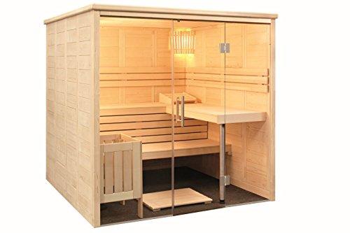 Preisvergleich Produktbild Sauna mit Glasfront Massivholz 208 x 206 x 204 cm Blockbohle 40 mm