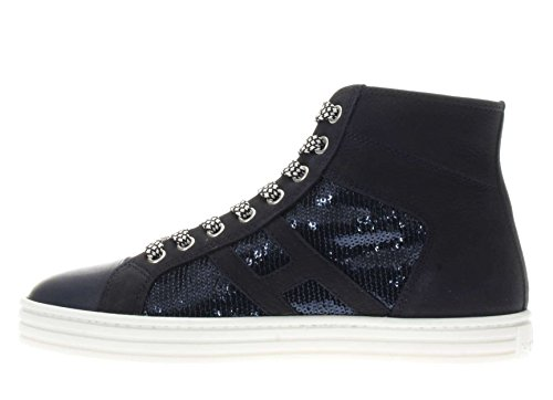 Hogan Rebel Donna Sneaker HXW1410P990FJC2B65 Sneaker r141 laterale paillettes Blu