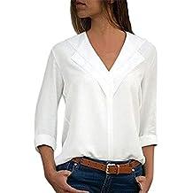 c4616267e6d855 NPRADLA 2018 Sommer Damen Shirt Langarm V Ausschnitt Elegant Bluse Chiffon  Einfarbig Büro Plain Roll Ärmel