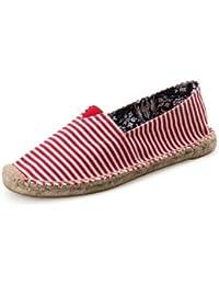 DYF Frauen Stickerei Nude Schuhe Nationalen Stil Rindfleisch Sehne Unten Tuch, D, 37