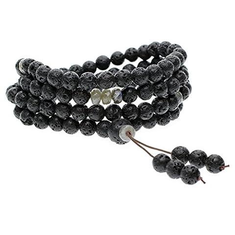 8mm Bracelet/Collier Mala 108 Perles en Lave Pierres Naturelles Semi-Précieuses
