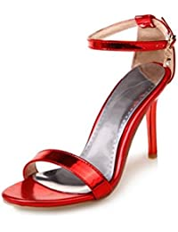 AIKAKA Zapatos de Mujer Primavera Verano Sandalias de Tacón Alto Bien con una Hebilla con Sandalias de Cuero de...