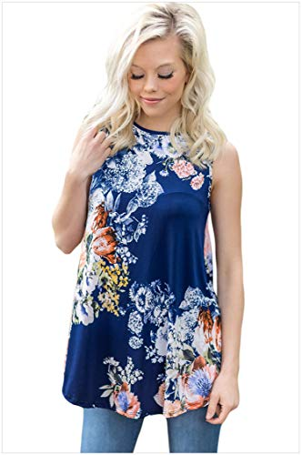 Sexy Lingerie Printed Top_Apparel Summer High-Neck Sleeveless Vest Casual Straight 250162  Royal Blue  Xl