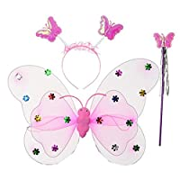 3PCS Girls Led Flashing light Up Fairy Butterfly Wings wand Headband Costume Dress-Up Toy, Perfect for Kids PINK
