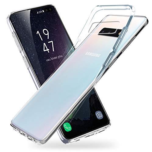 vau Hülle passend für Samsung Galaxy S10 Plus - SoftGrip Case Silikon Handyhülle dünn durchsichtig transparent (Clear) -