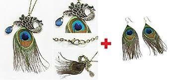 Mode de Nice Blue Eyes paon strass Sautoir avec pendentif plume magnifique