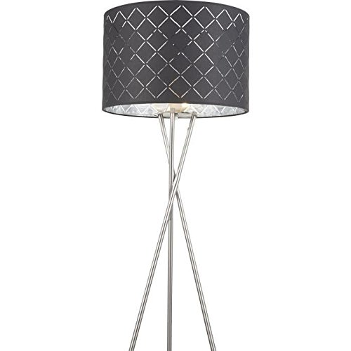 Luxus Decken Fluter Wohn Zimmer Stoff Steh Lampe schwarz gold Schalter Stand Leuchte Globo 15229S1