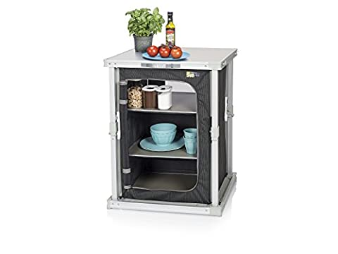 Campart Travel CU-0724 Camping Cupboard Bordeaux – Three compartments – Inventive folding system