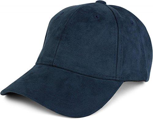 styleBREAKER 6-Panel Cap in Veloursleder, Wildleder Optik, Baseball Cap, verstellbar, Unisex 04023049, Farbe:Navy (Wildleder Cap Vintage)