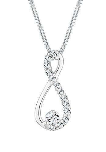 Elli Damen Halskette mit Infinity Anhänger Unendlichkeit und Swarovski Kristallen in 925 Sterling Silber 45 cm lang