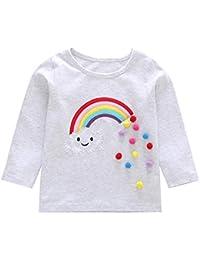 JYC Camisetas de Manga Larga para Niña,Manga Larga para Niños,Niñito Bebé Niños Chicas Largo MangaArco Iris Aplique Tops Trajes Ropa