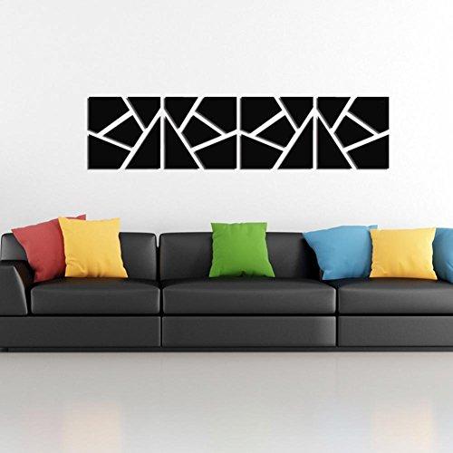 VOVO Wohnkultur, 4 Stücke Ein Set DIY 3D Acryl Spiegel Aufkleber Wandaufkleber Abnehmbare Böhmische Geometrische Muster Wohnkultur (Schwarz, Size: 20 * 80CM)