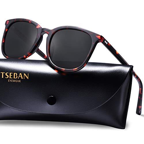 TSEBAN Vintage Damen Sonnenbrille UV 400 Polarisierte Brille für Fahren Golf und Freizeit (Rahmen: Schildpatt; Linsen: Schwarz)