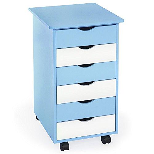 TecTake Rollcontainer mit 6 Schubladen -diverse Farben- (Blau   Nr. 400925) (6 Schubladen Kinder)