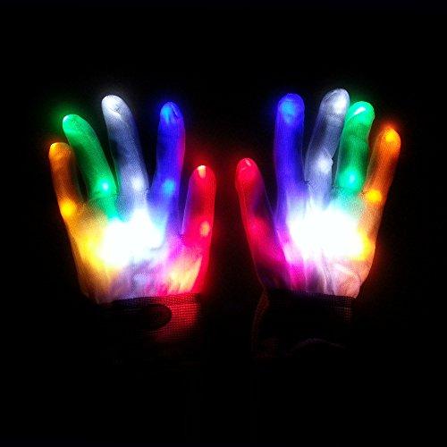 Stock Bunte Flash Handschuhe Rainbow Glow Handschuhe LED Fluoreszierende Tanz Performance Requisiten (bunt) ()