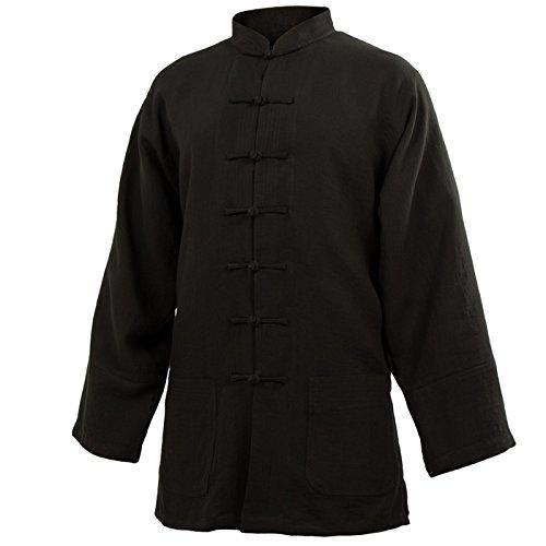 wu designs Baumwolle (Leicht) Tai Chi Oberteil Stehkragen - Taiji Shirt - Tai Chi Anzug - Kung Fu - Wushu - Schwarz - 185