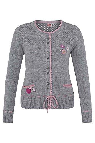 Damen Spieth & Wensky Trachten Strickjacke mit Blumenapplikation grau-rosa, grau-rosa, L