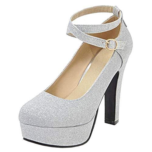 CularAcci Donna Moda con Cinturino alla Caviglia Tacco Alto Pumps Plateau Scarpe Silver Size 39 Asiatico