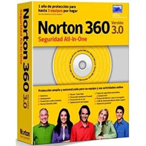 Symantec Norton 360 - v.3.0 - 1 User, 3 PC - ES - Seguridad y antivirus (3 PC - ES, 300 MHz, ESP, PC, - Microsoft Windows XP SP2/SP3 Home Edition/Professional Edition Media Center, CD-ROM/DVD-ROM, VGA (800x600))