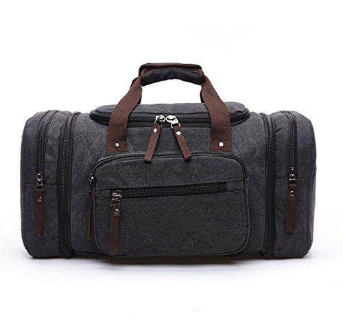 Happytimebelt 53,3cm Trim Weekender borsa da viaggio, borsone in tela, Coffe Black
