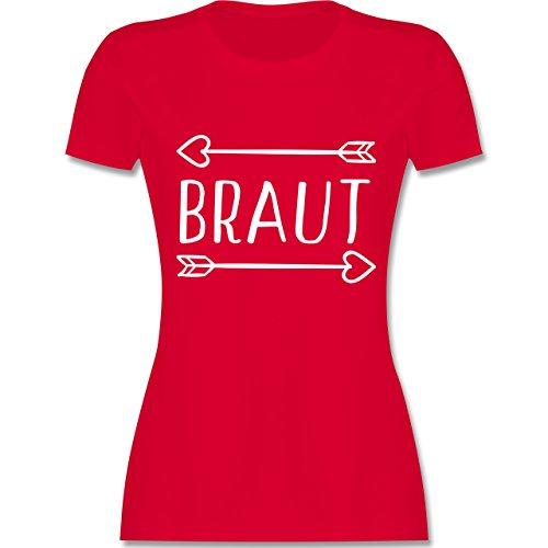 Shirtracer JGA Junggesellinnenabschied - Braut Pfeile - Damen T-Shirt Rundhals Rot