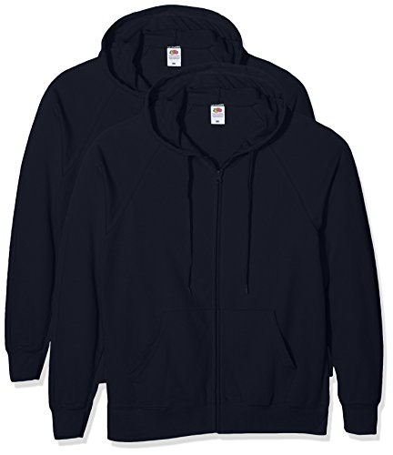 Fruit of the Loom Herren Lightweight Hooded Jacket Sweatshirt, Blau (Dark Navy), S Lightweight Hooded Pullover Sweatshirt