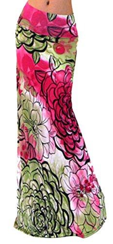 Frauen Sommer Print Bunte hohe Taille Strand Maxi Röcke Langes Kleid Small - Red flower (Multi-flower-print)