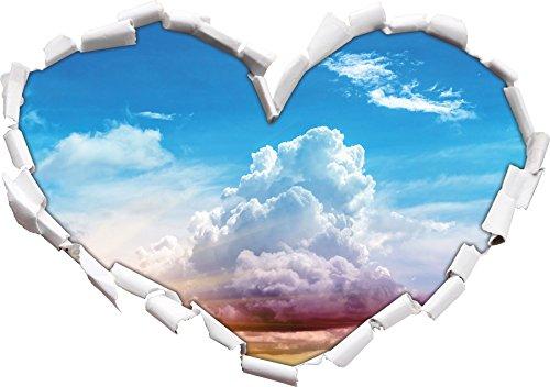 Cielo nuvoloso coperto a forma di cuore sole nel adesivo formato aspetto, parete o una porta 3D: 62x43.5cm, autoadesivi della parete, decalcomanie della parete, decorazione della parete - Acqua Nuvoloso