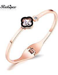 dae4b3f58ca Richapex Rose Gold Four-Leaf Clover Open Bangle Cubic Zirconia Inlaid  Stainless Steel Cuff Bracelet