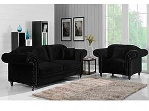 Canapé et fauteuil ELISABETH - Noir