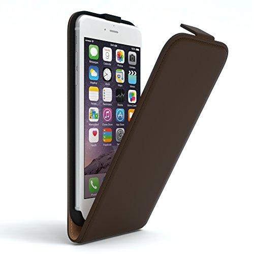 EAZY CASE Hülle für Apple iPhone 6 / 6S Hülle Flip Cover zum Aufklappen Handyhülle aufklappbar, Schutzhülle, Flipcover, Flipcase, Flipstyle Case vertikal klappbar, aus Kunstleder, Braun - Leder 6 Iphone Case Vertikal