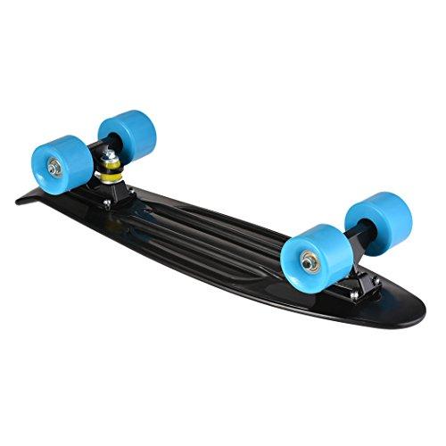 Ancheer-Mini-Cruiser-Skateboard Eine große Vielfalt von Farbe der Platten und Rädern 22 Zoll Kunststoff-Board im Retro-Stil (Schwarz und Blau) -