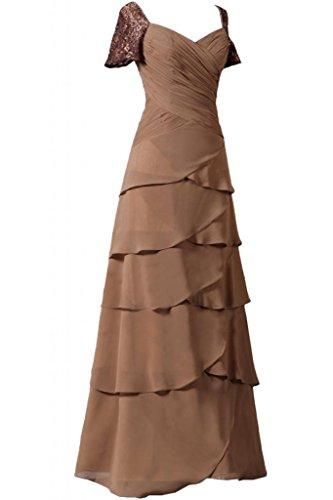 Sunvary elegante Chiffon a maniche corte della linea Sweetheart, della madre della sposa, abiti Cioccolato