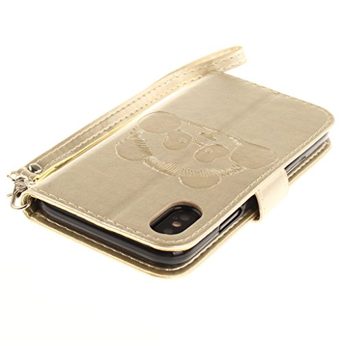 Custodia per Apple iPhone X , IJIA Puro Marrone Panda Goffratura TPU + PU Pelle Silicone Gel Slot Case per portafoglio Fessura per carta di credito Cover Book Flip Stile Classico Vintage Style Caso pe Gold