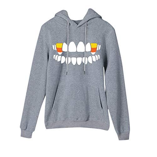 Haughtily Frauen Halloween Gedruckt Kapuzenpulli Candy Zahn Muster mit Langen Ärmeln Pullover Tops - Bauern Kostüm Mit Overall