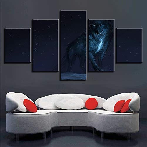CQMEI Leinwand Malerei, Hd Print Moderne Wohnkultur Wohnzimmer 5 Tier Wolf Glowing Eyes Malerei Wandkunst Poster Modulare Leinwand Bilderrahmen