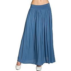 Caspar RO012 Falda Plisada Larga para Mujer/Falda Casual para el Verano, Color:Azul Vaquero;Tamaño: Talla Única