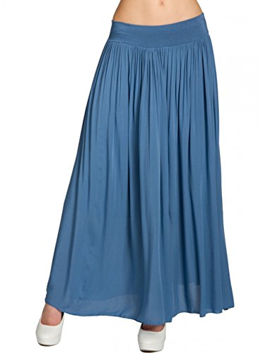 CASPAR RO012 leichter langer Damen Sommerrock, Farbe:jeans blau;Größe:One - Lang Jeans-rock
