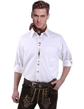 Top-Quality - Trachtenhemd Herren Weiß- mit dezenter Stickerei - Komfort Reine Baumwolle