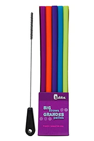 Bubba Big Straws 5 pack (Assorted Colors) with Brushtech Big Straw Cleaning Brush Set