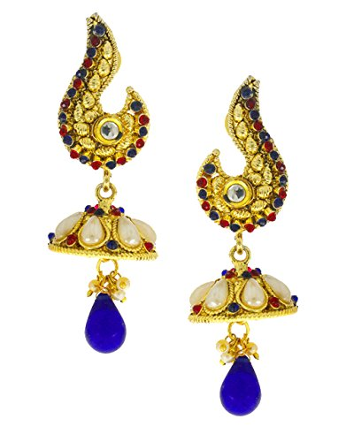 Anuradha Art Pink-Blue Colour Styled With Sparkling Stones & Pearl Beads Designer Jhumki/Jhumkas Traditional Earrings For Women/Girls  available at amazon for Rs.180