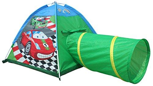 Kiddus KI60106 Tienda de campaña/casa/carpa de jugar plegable Coche con túnel de tela, estimula la imaginación y aventuras. Para interior y exterior