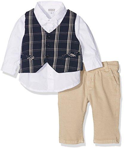 Kanz Jungen Anzug Weste + Hemd 1/1 Arm + Hose, Gr. 80, Mehrfarbig (y/d check 0002)