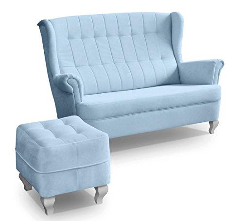 Ohrensofa mit Hocker 2er 2-Sitzer Couch Stoffsofa Ohrensessel 3er Sofa Blau STANFORD (Blau)