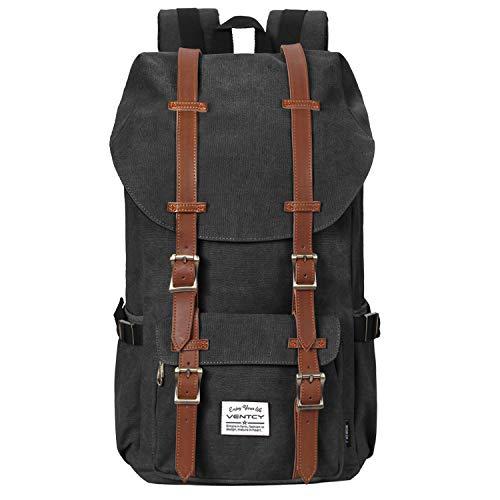 VENTCY Canvas Rucksack Damen Herren Vintage Backpack Segeltuch Retro Studenten Rucksack Laptop Wasserabweisend Dayback für Freizeit Outdoor Reise
